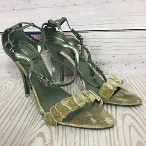 Dkny Shoes - DKNY 9 Metallic Green Leather Strappy Heels